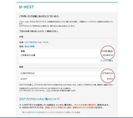 IOS版U-NEXT(ユーネクスト)アプリUコイン作品購入利用明細メール