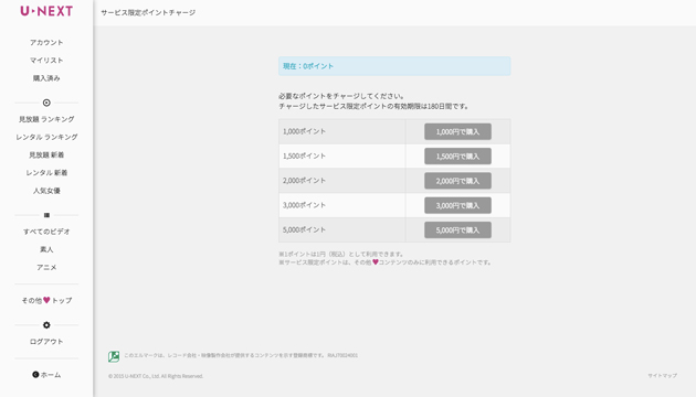 U-NEXTサービス限定ポイントチャージ方法ステップ5