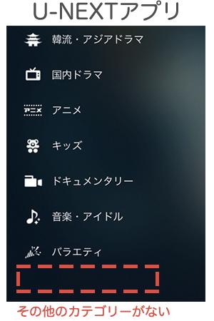 U-NEXTのアプリには「その他」のカテゴリーがない