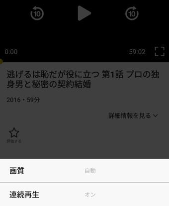 動画再生プレイヤーの設定画面